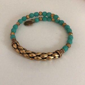 aqua/gold Alex and Ani bracelet